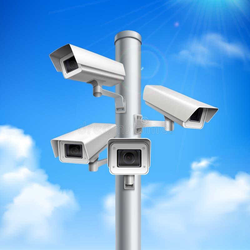 Composizione realistica nelle videocamere di sicurezza illustrazione vettoriale