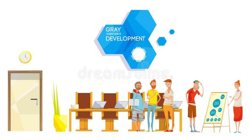Composizione in riunione di sviluppo di software illustrazione di stock