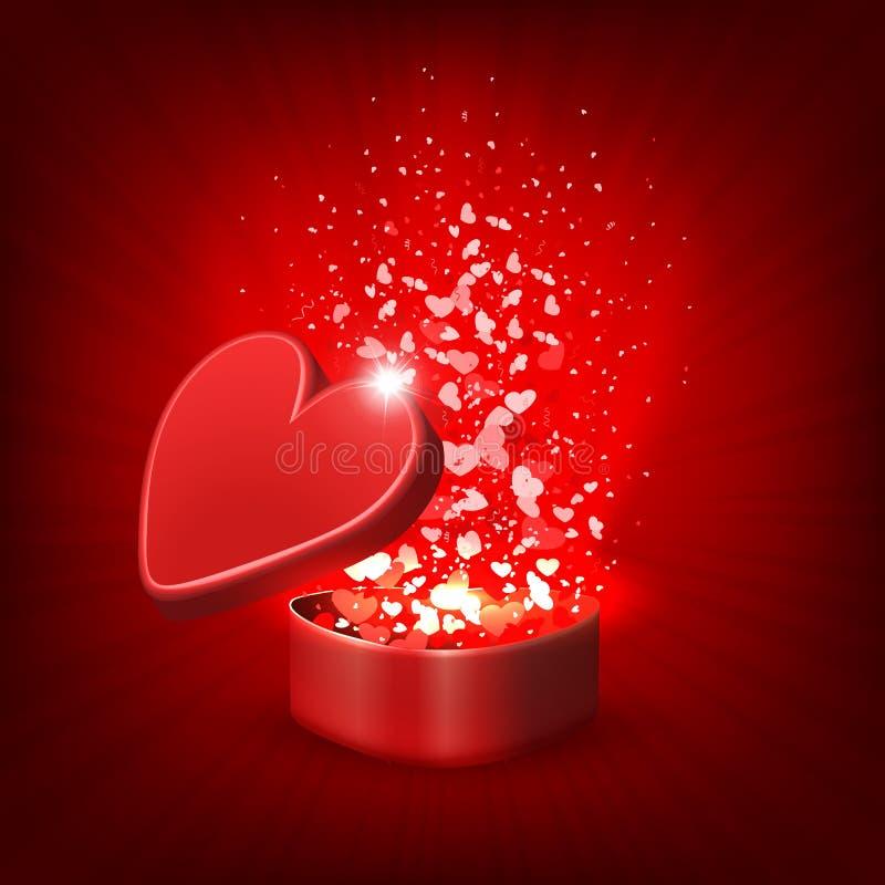 Composizione rossa con una scatola rossa, lotti dei cuori illustrazione vettoriale