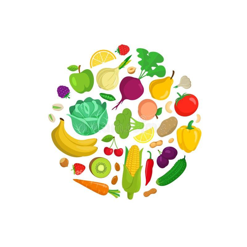 Composizione rotonda nelle verdure illustrazione di stock