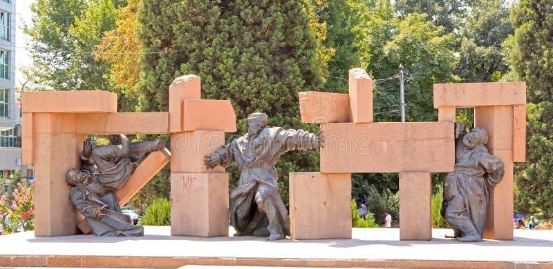 Composizione scultorea sull'area della S Aini Dušanbe, Tajikis fotografia stock