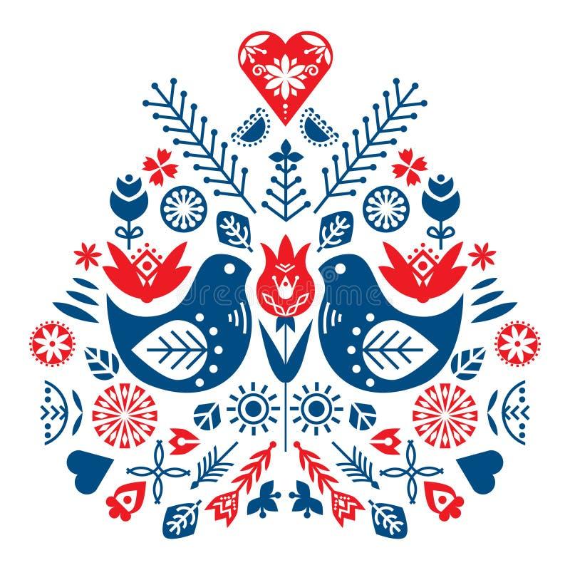 Composizione simmetrica degli elementi etnici L'insieme nordico della molla per progettazione Fiori, uccelli e foglie illustrazione vettoriale