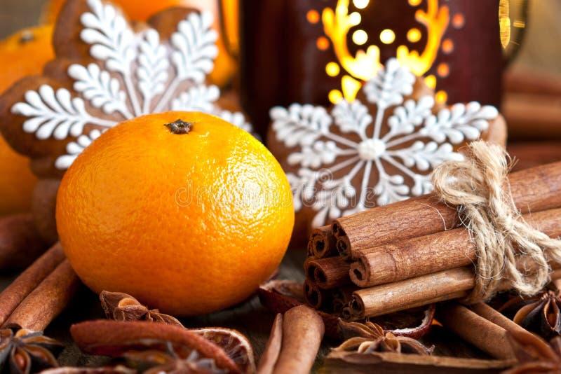 Composizione in tempo di Natale con i biscotti ed i frutti immagini stock libere da diritti