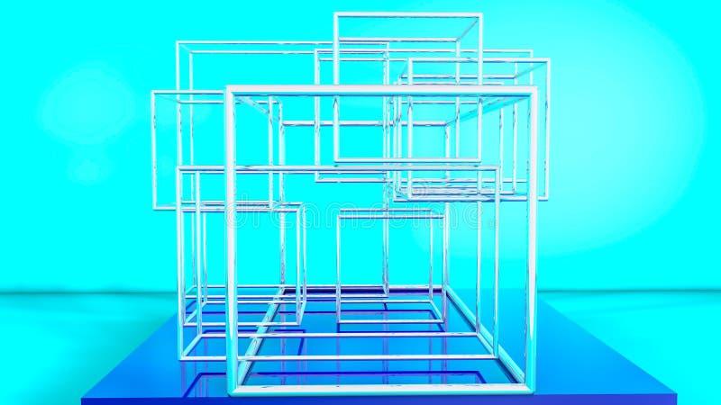 Composizione tridimensionale dei cubi vuoti Estratto rappresentazione 3d royalty illustrazione gratis