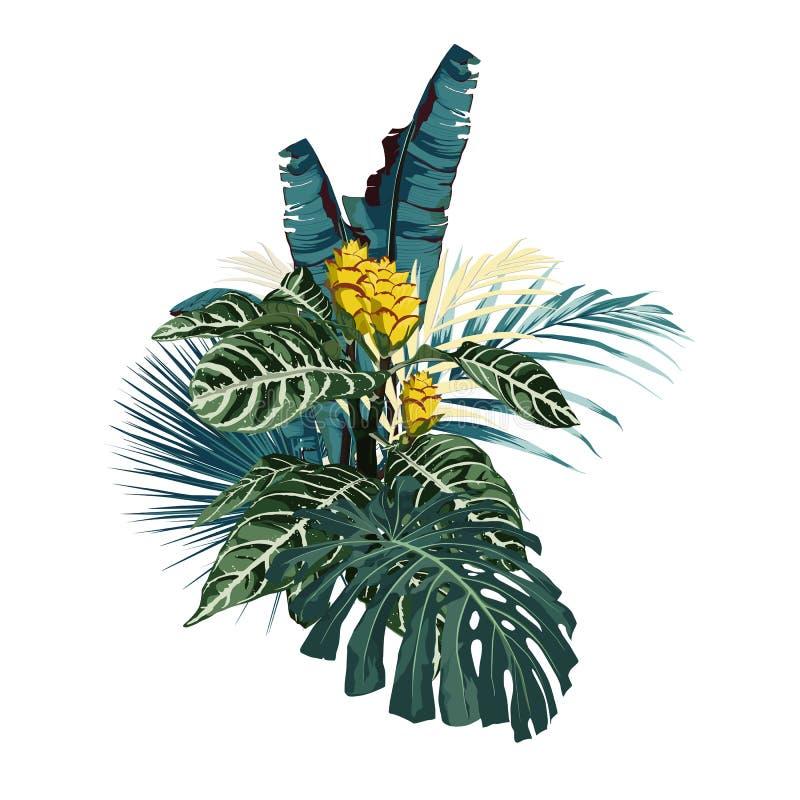 Composizione tropicale in colore dell'estratto con le foglie ed i fiori illustrazione vettoriale