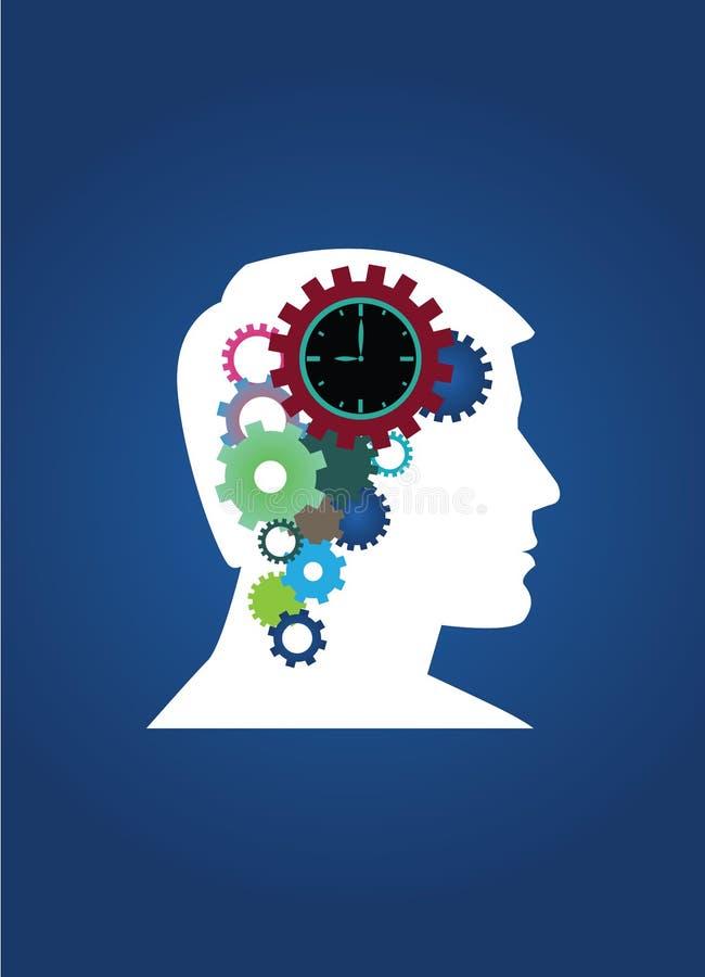 Composizione vectoral nel pensatore del cervello dell'ingranaggio immagine stock libera da diritti