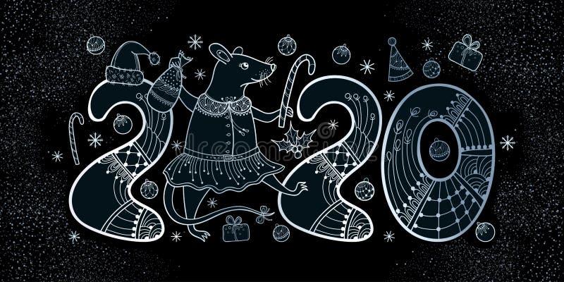 Composizione vettoriale del ratto blu di colore argento sullo sfondo nero Simbolo del nuovo anno cinese 2020 in stile contorno illustrazione vettoriale