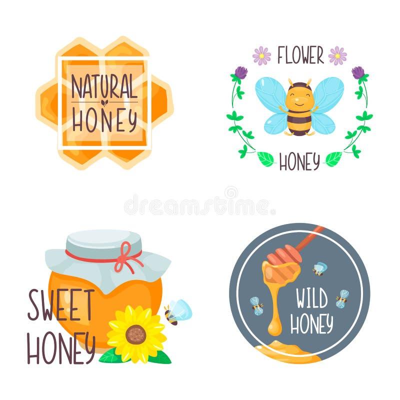 Composizioni nel miele per progettazione dell'alimento con le api e fiori, favo e barattolo Fumetto di vettore piano illustrazione vettoriale