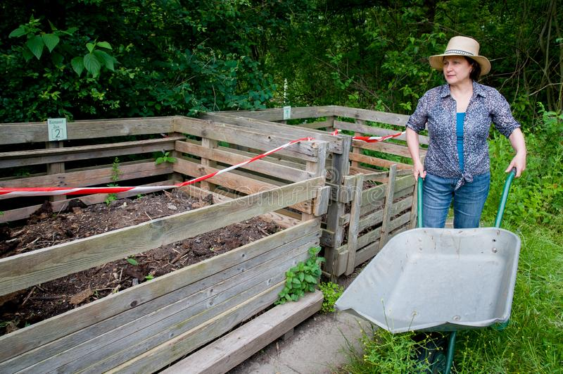 Compost bins with humus royalty free stock image