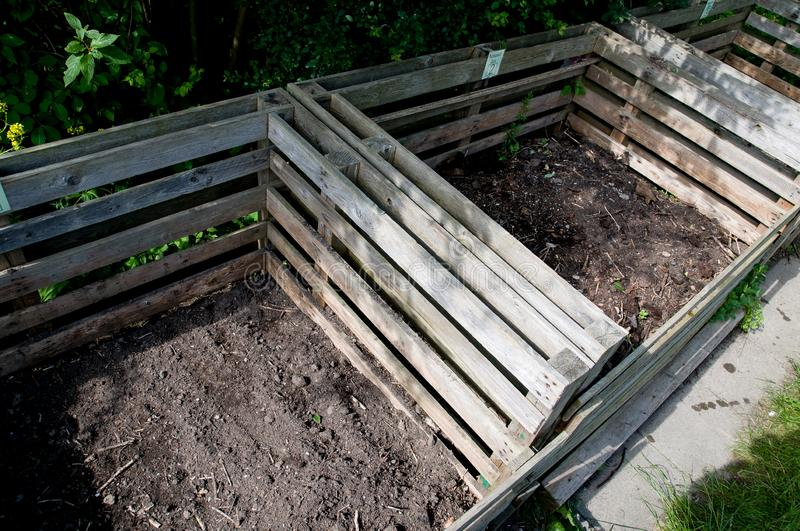 Compost bins with humus stock image