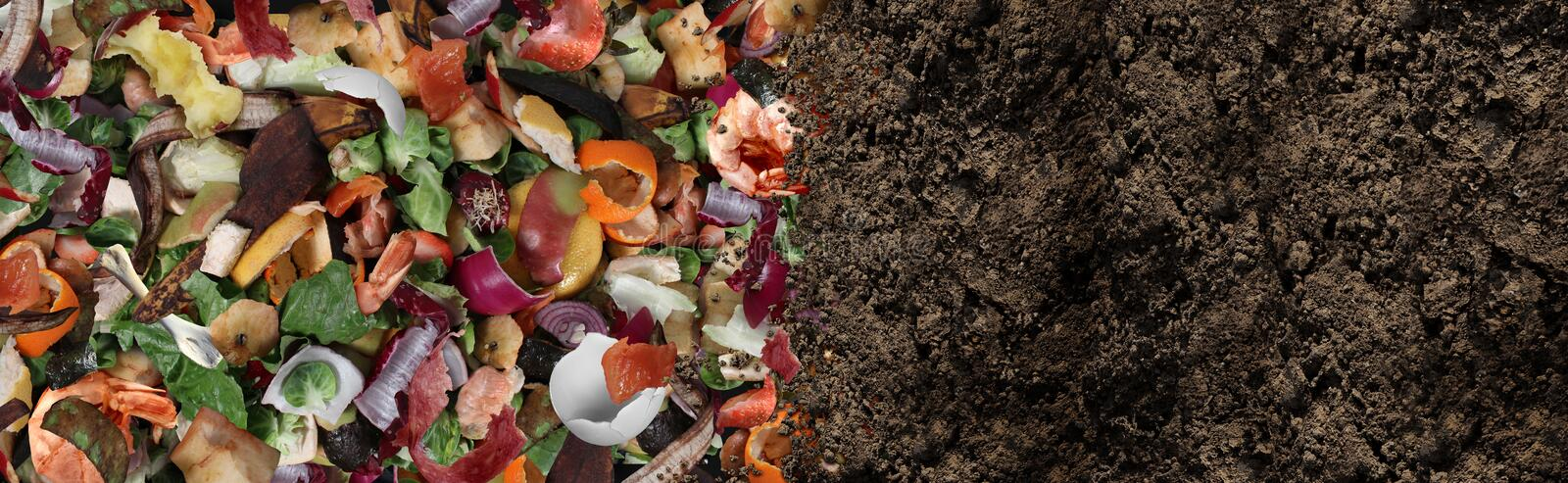 Compost And Composted Soil. As a composting pile of rotting kitchen scraps with fruits and vegetable garbage waste turning into organic fertilizer earth as a stock images