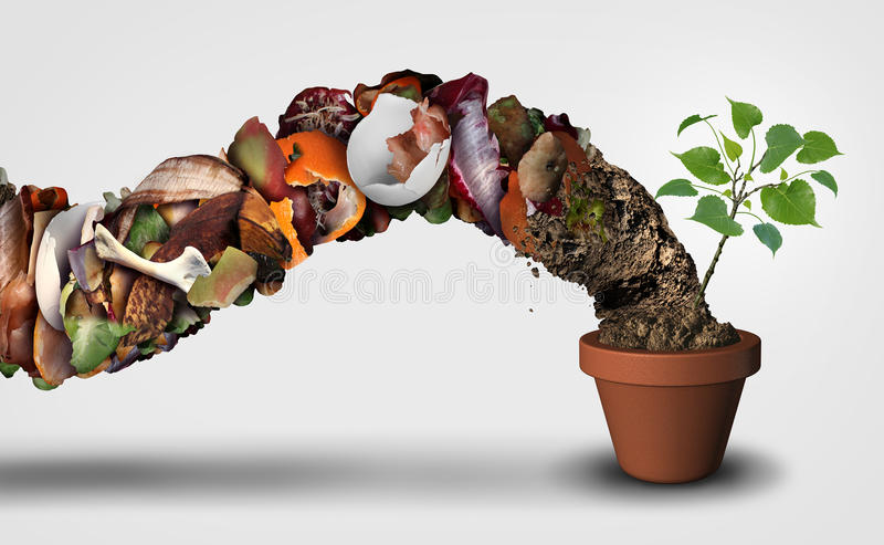 Compost And Composting. Symbol life cycle symbol and an organic recycling stage system concept as a pile of rotting food scraps with soil resulting in a royalty free illustration