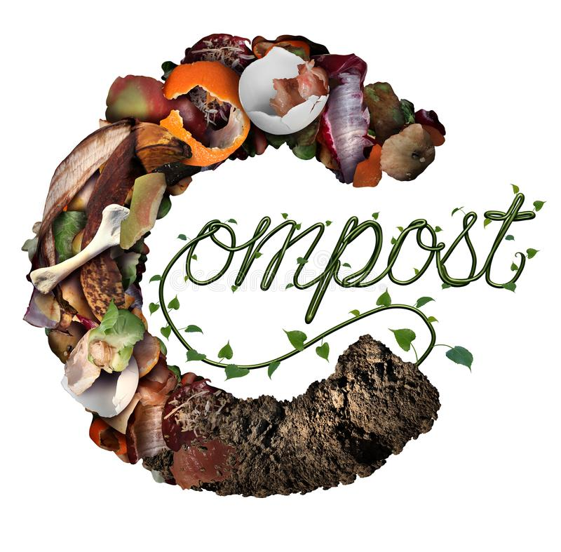 Compost Composting Concept. Compost concept and composting symbol life cycle and an organic recycling system as a pile of rotting food scraps with a sapling vector illustration