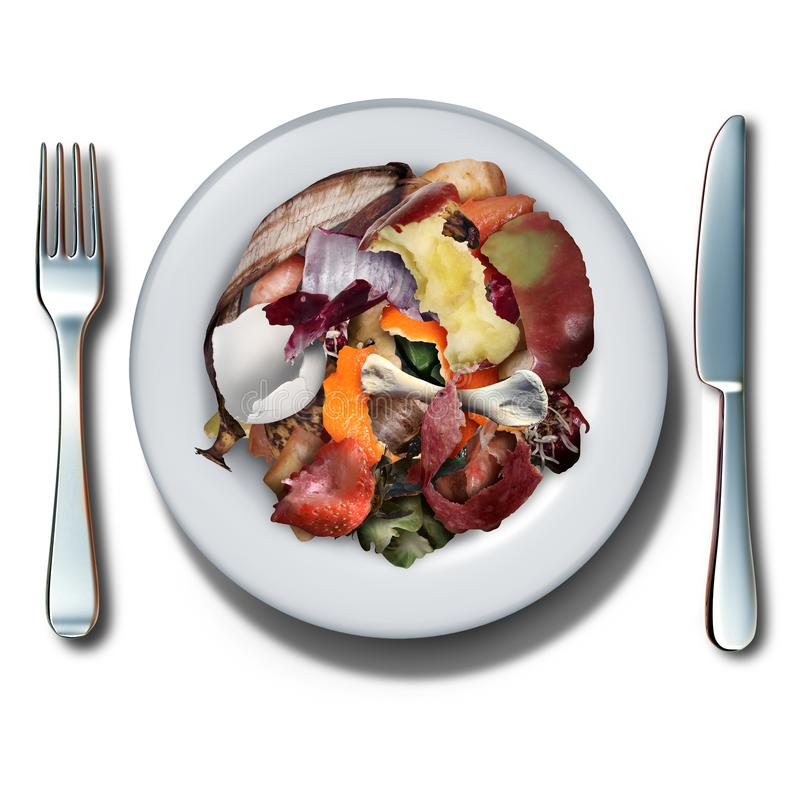 Compost Food. Concept and composting symbol as an organic recycling idea as a pile of rotting kitchen dinner scraps on a plate with knife and fork with 3D royalty free illustration