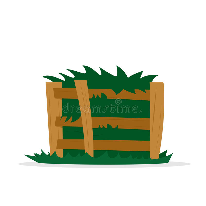Compost pile in wooden box. Vector illustration isolated on white background stock illustration