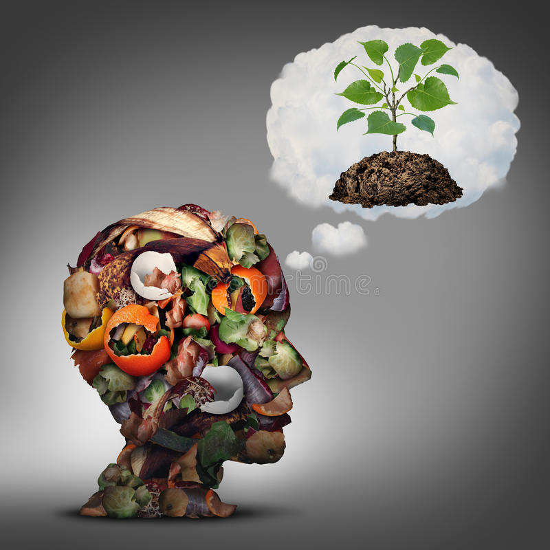 Compost Plan. And composting planning as a pile of rotting fruits egg shells and vegetable food scraps shaped as a human head dreaming of soil with a sapling vector illustration