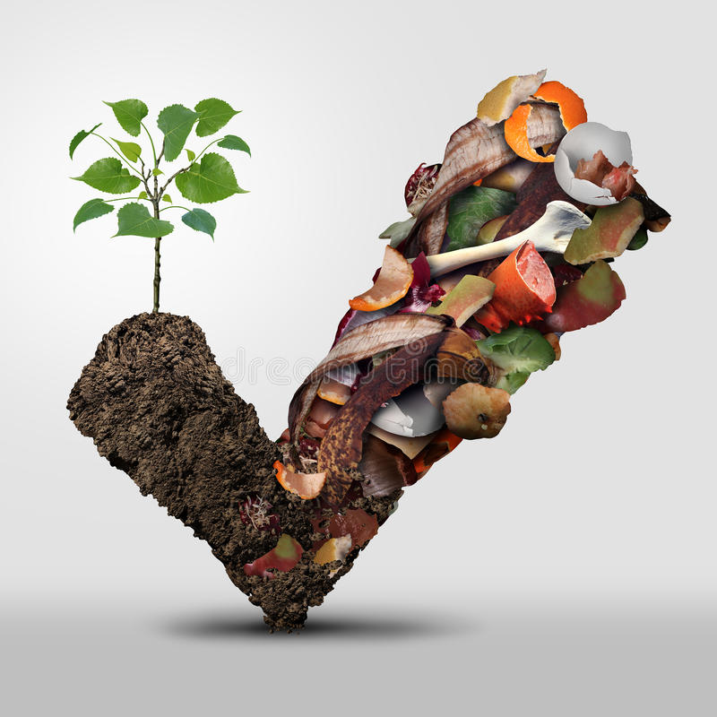 Compost Symbol. Life cycle symbol and a composting stage system concept as a pile of rotting fruits egg shells bones and vegetable food scraps shaped as a check stock illustration