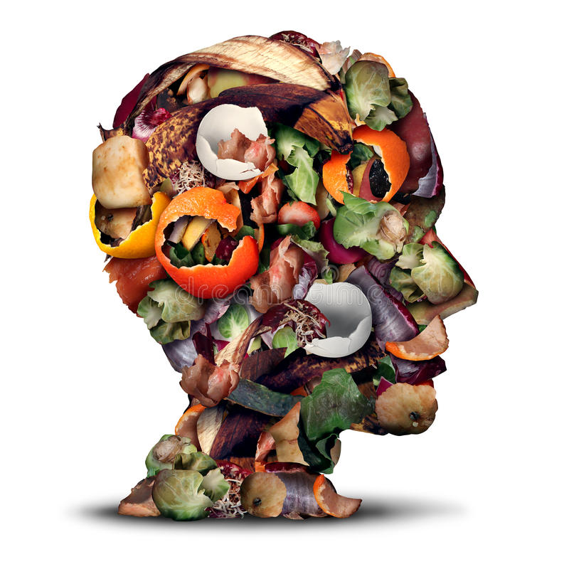 Compost Thinking. And composting concept as a pile of rotting kitchen fruits egg shells and vegetable food scraps shaped as a human head as organic waste for vector illustration