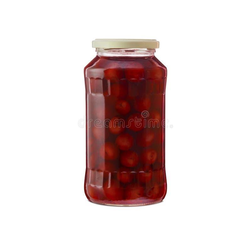 Composta della ciliegia in un barattolo di vetro fotografia stock libera da diritti