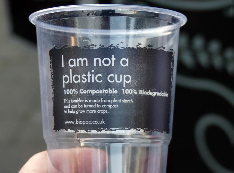 Compostable, biodegradeable, non plastic plastic cup. Environmentally friendly. Eco friendly, Compostable, biodegradeable, non plastic plastic cup royalty free stock image