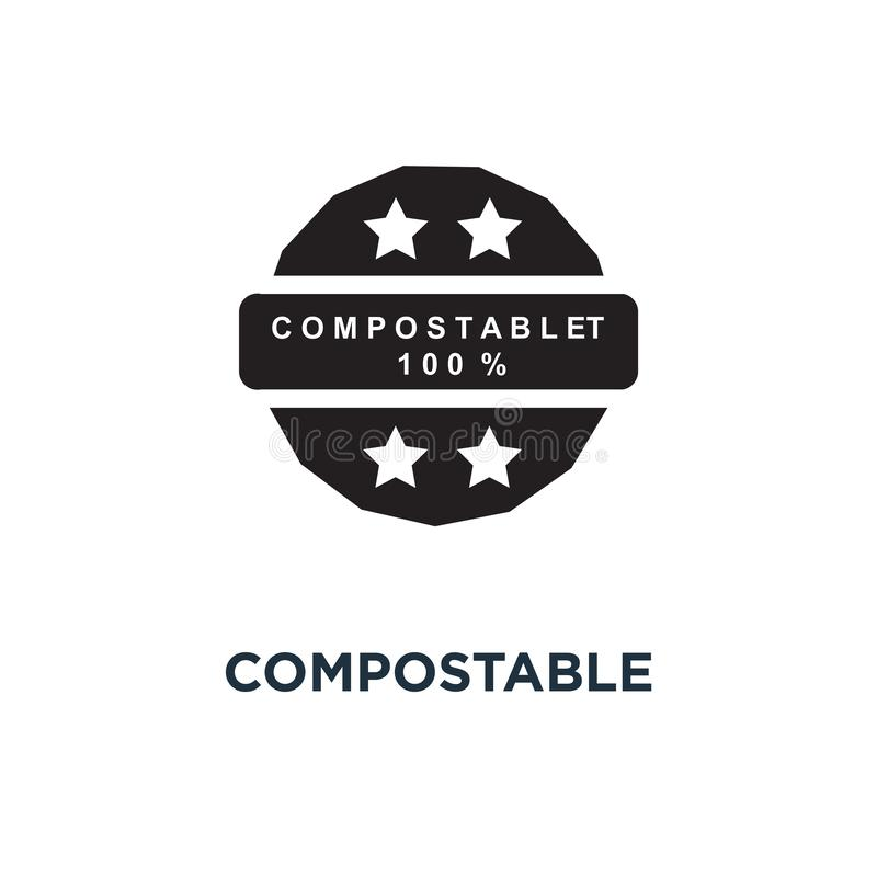 Compostable material 100 icon. Simple element illustration. Comp stock illustration