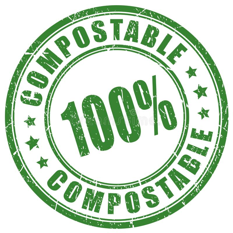 Compostable vector stamp. Compostable material vector stamp on white background royalty free illustration