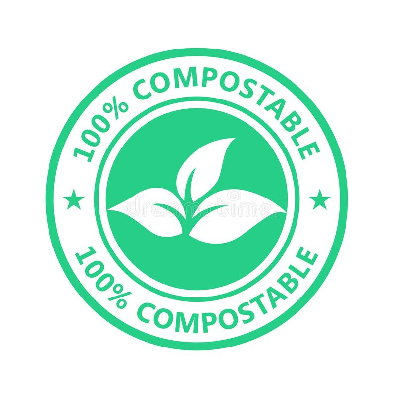 Compostable product label, plastic free icon - eco seal, non toxic pack royalty free illustration