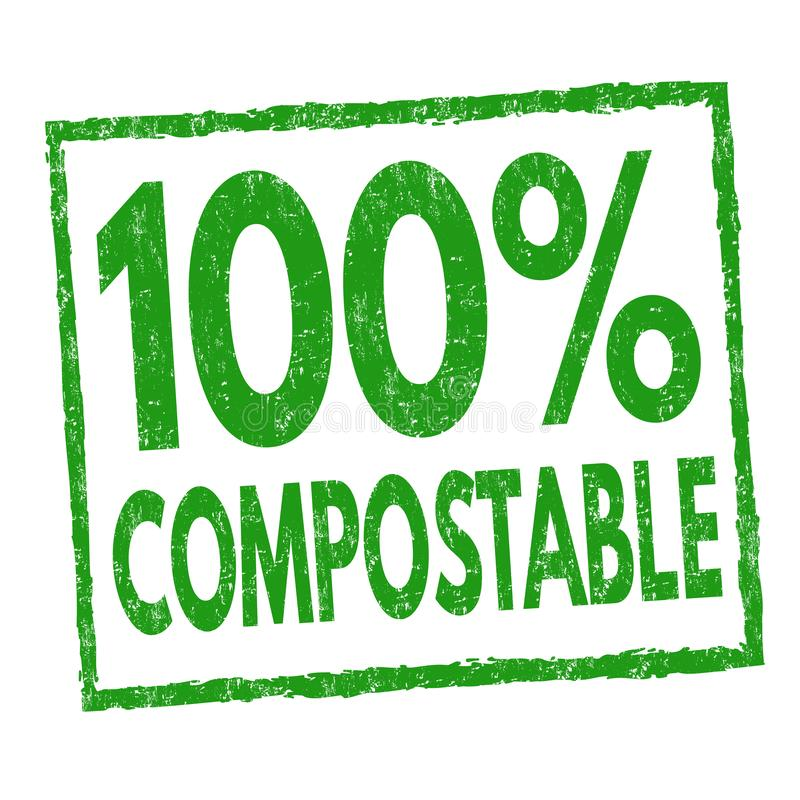 100 % compostable sign or stamp stock illustration