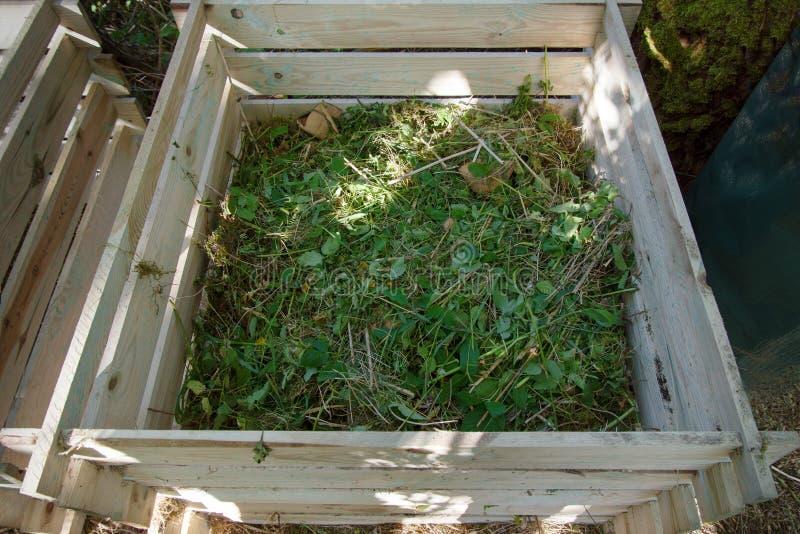 Compostbak hout met onkruid van de tuin wordt gevuld die stock afbeelding