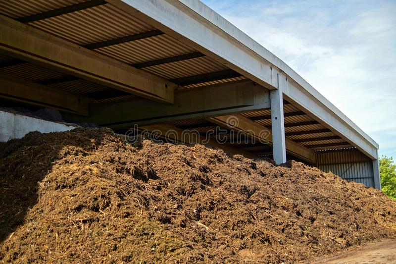 Composted soil pile at the compost plant. royalty free stock images