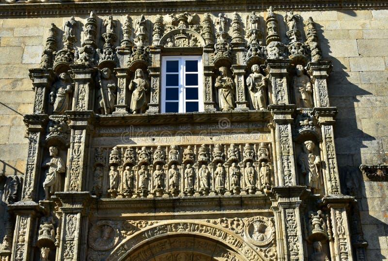 compostela de Santiago Espagne Échantillon Plateresque de style dans la place d'Obradoiro près de la cathédrale Façade avec les s photographie stock