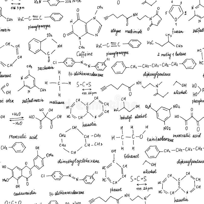 Composti organici Struttura senza giunte Schizzo della lavagna della scuola con il composto organico di chimica organico immagini stock
