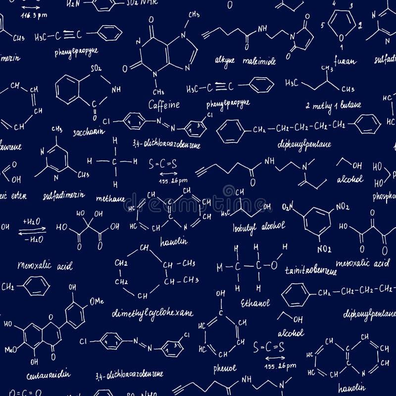 Composti organici Struttura senza giunte Schizzo della lavagna della scuola con il composto organico di chimica organico immagine stock libera da diritti