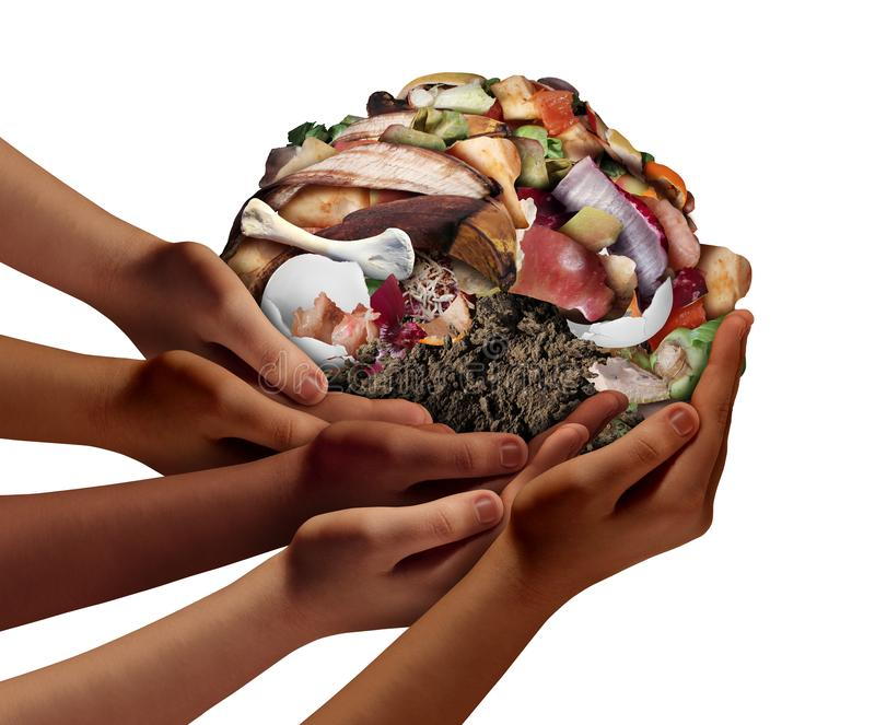Composting Community Concept. Composting community cooperation concept and composting symbol as diverse hands holding a pile of rotting food compost scraps in a stock illustration