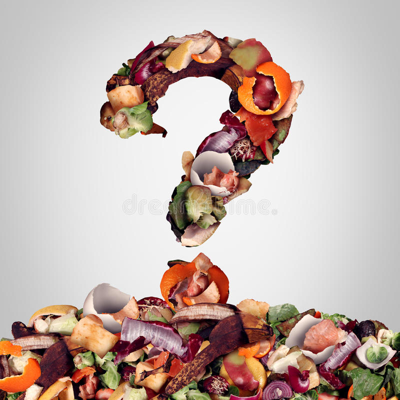 Composting Question. S as a compost pile of rotting kitchen fruits egg shells and vegetable food scraps shaped as a question mark as a banana peel orange and vector illustration
