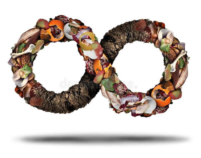 Composting Recycle Symbol. Composting symbol and compost cycle icon system concept as a pile of rotting fruits egg shells bones and vegetable food scraps shaped stock illustration