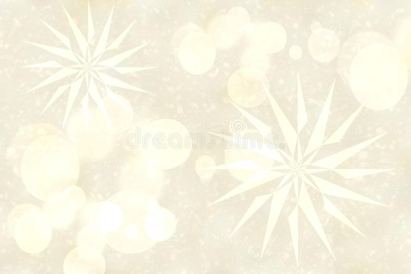 Compostion de prata brilhante delicado do sumário com estrelas do fractal e luzes borradas do bokeh Textura bonita do fundo ilustração do vetor