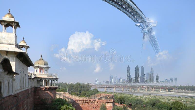 Composto da arquitetura da ficção científica com monumentos antigos ilustração do vetor