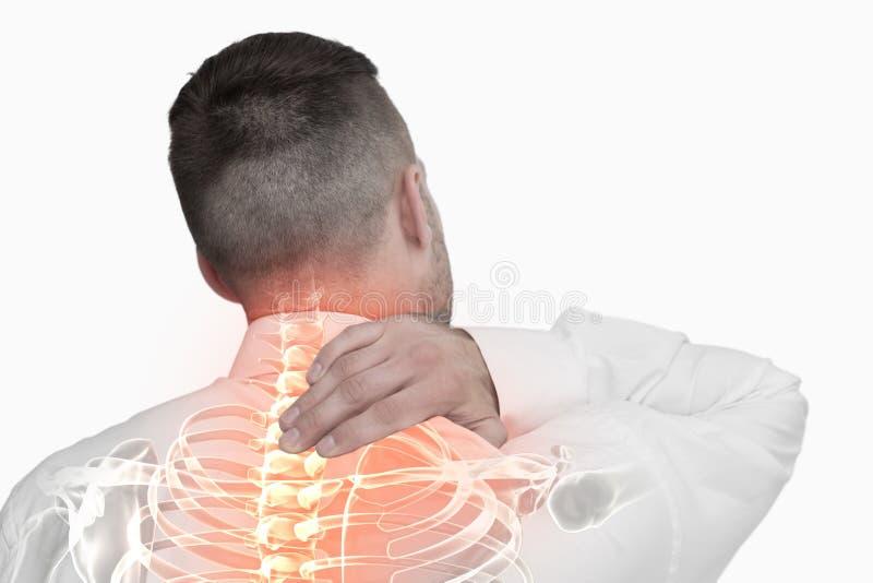 Composto di Digital della spina dorsale Highlighted dell'uomo con dolore alla schiena immagini stock