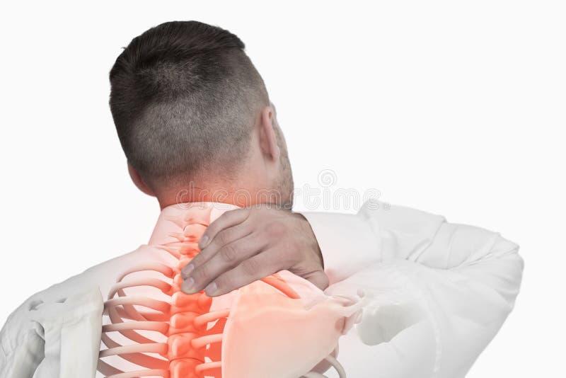 Composto di Digital della spina dorsale Highlighted dell'uomo con dolore alla schiena fotografie stock