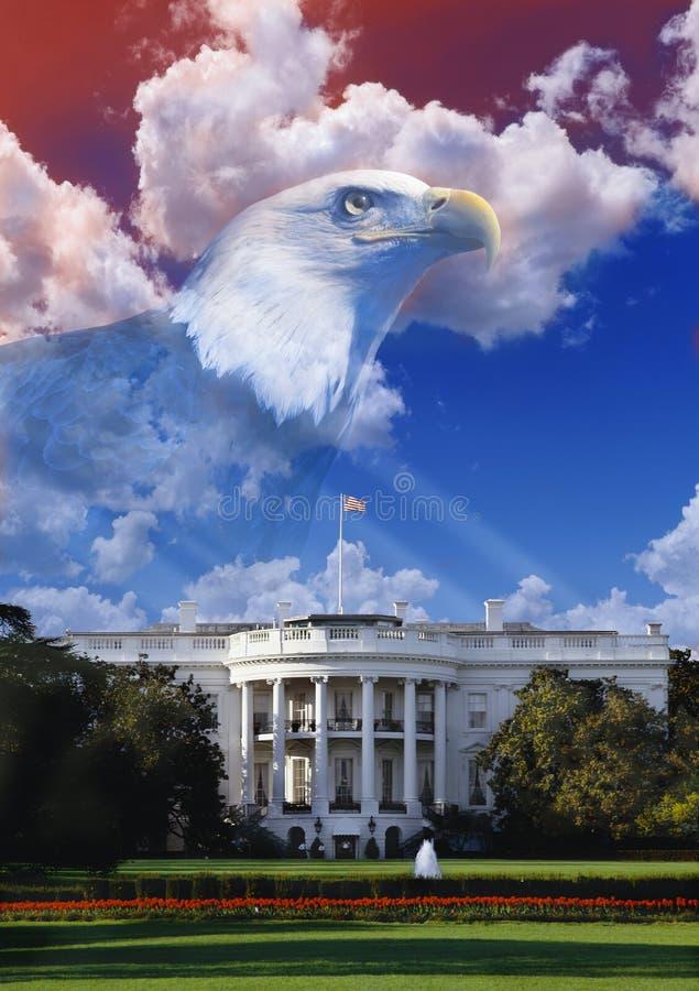 Composto di Digital: La Casa Bianca con l'aquila americana immagine stock libera da diritti