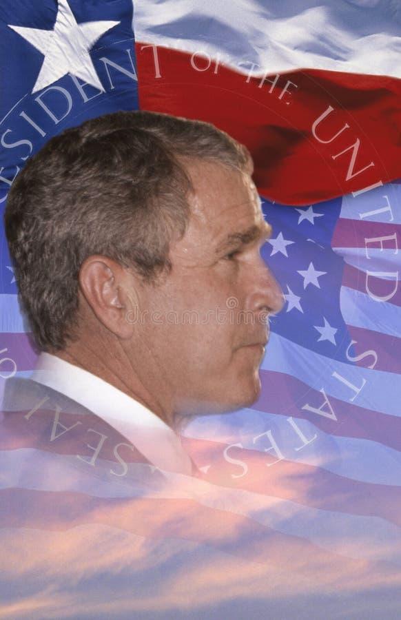 Composto di Digital: Presidente George W Bush e bandiera americana immagine stock