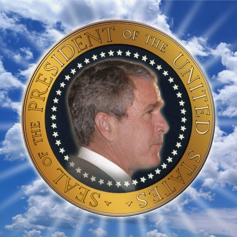 Composto di Digital: Presidente George W Bush in guarnizione ufficiale del presidente fotografia stock