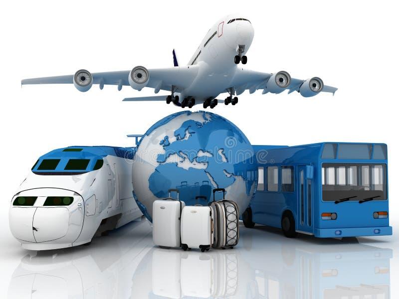 Composto do curso com plano, mala de viagem, globo, b ilustração stock