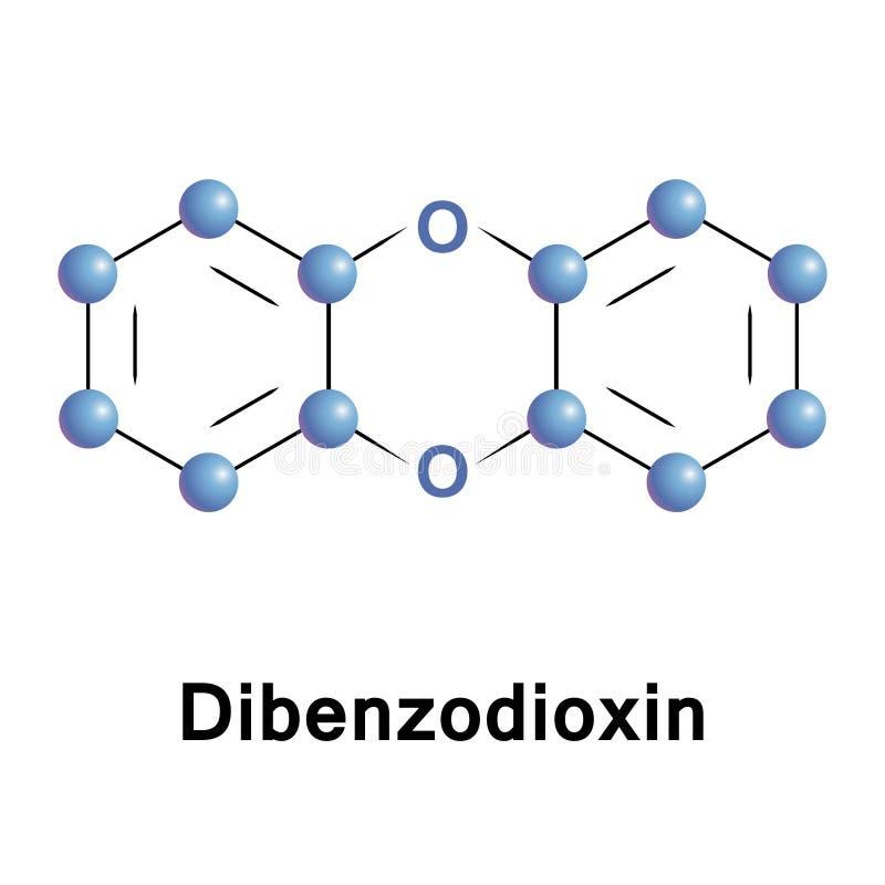 Composto orgânico heterocyclic do Dibenzodioxin ilustração stock