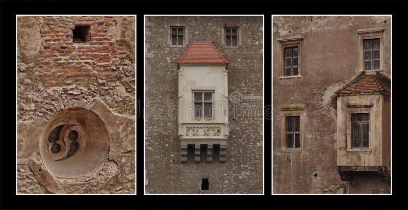 Composto triptic do detalhe do castelo fotografia de stock royalty free