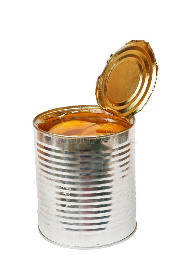 Compote in cans. Open metal can with peach compote. Isolated on white background stock photos