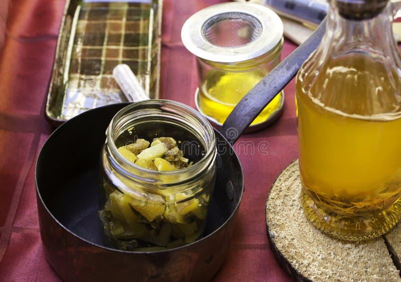 Compote de pommes et miel photo stock
