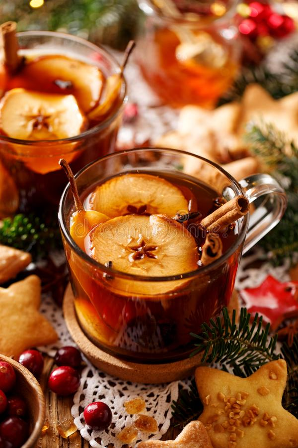 Compote of dried fruits and aromatic spices, a traditional drink during Christmas dinner. Traditional Polish Christmas stock photography
