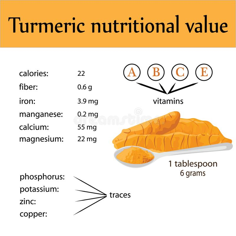 Compound of minerals in one spoon of turmeric powder. Compound of vitamins and minerals in one spoon of turmeric powder vector infographics stock illustration